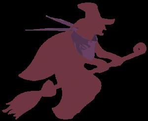 Illustrierte Hexe auf einem Besen